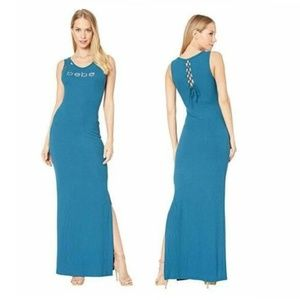 BEBE Lacing Detail Maxi Dress Moroccan Bling NWT